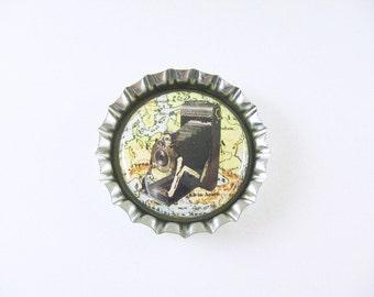 Vintage Camera on Map Fridge Bottle Cap Magnet - yellow black