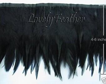 Hackle feather fringe of black color 10 yards trim New