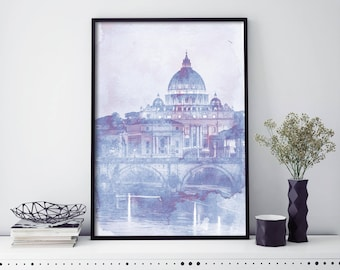 Vatican City, St Peter's Basilica, Rome Watercolour Print Wall Art | 4x6 5x7 A4 A3 A2