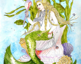 Blonde Mermaid Queen on Shell Throne Print Fantasy Sea Siren Fine Art Pen and Ink Watercolor Illustration Wall Art Beach Decor