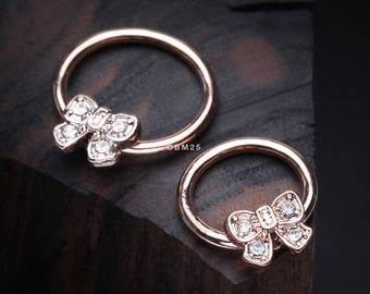 Rose Gold Dainty Bow-Tie Sparkle Captive Bead Ring