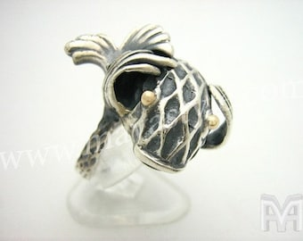 Sterling Silver Fish Ring Gold Eyes Bague de Poisson