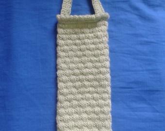 Knitted Carrier Bag Holder, kitchen accessory, handmade bag holder, housewarming gift, grocery bag storage