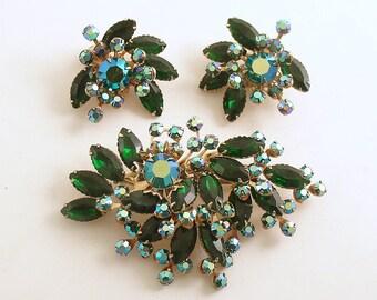 Vintage Brooch Earrings Demi Parure Green Rhinestones Deborah Dow Costume Jewelry