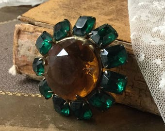 Big Bold Rhinestone Faceted Glass Gold Wash Sterling Silver Brooch Pin 1930's 1940's Foil Backed Dark Green Yellow Amber Prong Set Round