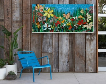 LARGE 5ft GARDEN MOSAIC wall art- made to order- patio decor mosaic wall art stained glass mosaics indoor or outdoor wall decor