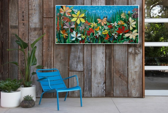LARGE 5ft GARDEN MOSAIC wall art made to order patio decor
