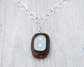 Walnut Wood and Lake Erie Beach Glass Necklace