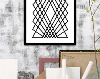 Black & White Geometric Print Art, Black and White Abstract Print, Geometric Print, Monochromatic Home, Monochromatic Art, Monochrome Print
