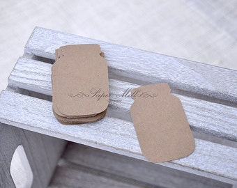 Kraft Paper Mason Jar Dies, Brown Paper Cards, Wedding Favors, Mason Jar Die Cuts, Paper Gift Tags, Wedding Favor Dies