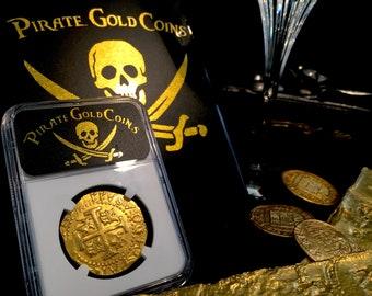 "Peru 1712 8 Escudos ""1715 Plate Fleet Shipwreck"" NGC 61 Pirate Gold Treasure Coins Doubloons Cob Shipwreck"