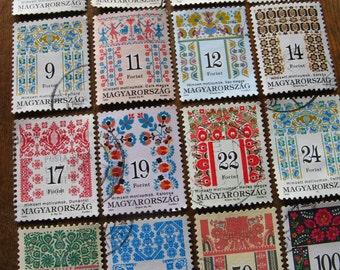 vintage folk postage stamps -Hungary - folk patterns  - 16 different