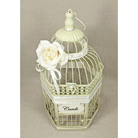 Birdcage Wedding Card Holder: Wedding Birdcage Card Holder Vintage Ivory Pearl & Silver