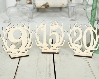 Freestanding Antler Wedding Table Numbers Country Wedding