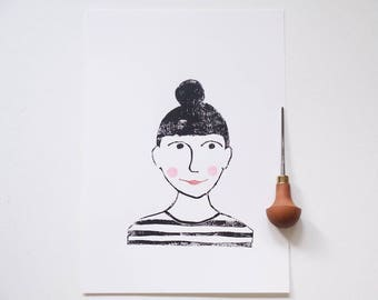 Molly   linocut, linoprint, lino, print, illustration, artprint, blockprint, limited, girl, A4