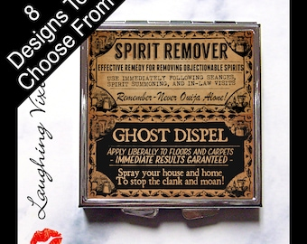 Ghost Pill Box - Ghoul Cures Compact Mirror - Witch Pill Case - Horror Magic Potion Label - Witch Spell - Magic Spell - Purse Mirror - GC A