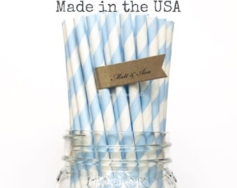 Light Blue Paper Straws 100 Baby Blue Powder Blue Straws Wedding Table Setting Vintage Baby Shower, Paper Goods, Party Supplies, Made in USA