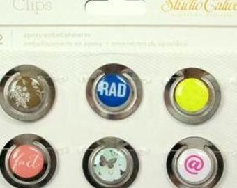 Set Of 6 Studio Calico Silver Lemon Lush Epoxy Embellishment Clips Paper Clips