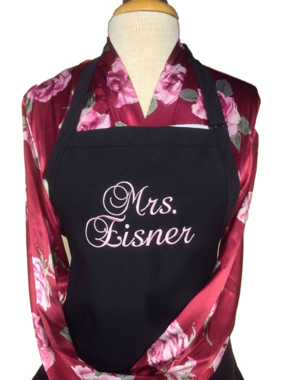 """The """"Mrs"""" Apron w rustic pink thread & 3 Pockets on your color choice (24""""L x 28""""W) Summer, beach, island, pink, pastel, picnic, family"""
