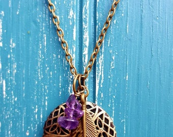 Essential oil diffuser necklace, aromatherapy necklace, feather and amethyst