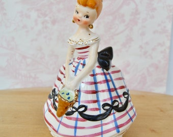 Vintage 1950s Planter with Beautiful Lady Wearing a Bow Dress by Lefton