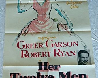 Her Twelve Men One Sheet Folded Movie Poster with Greer Garson and Robert Ryan!!