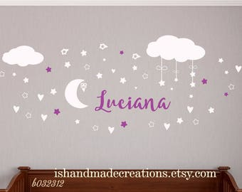 Name Wall Decal  Clouds Nursery Decals Moon Decal Stars Wall Vinyl Sticker. Name For baby boy or girl  Nursery Wall Decor. Baby Name