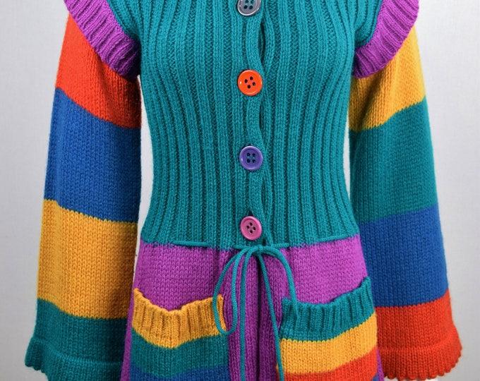 Vintage 1970s Offspring by Trisha Sayad CoLoR bloCk KniT MoHair HiPPiE RaiNboW Bright FuN WooL CarDiGaN Sweater M