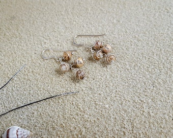 Wire-wrapped gemstone cluster dangle earrings