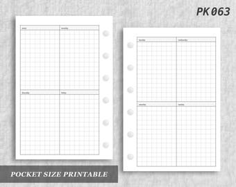 Pocket Size Printable Vertical Wo2P Grid Weekly Week on Two 2 Page Wo2 Graph Digital Download PK063
