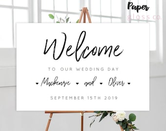 INSTANT DOWNLOAD Wedding Welcome Sign, Welcome Sign, Wedding Sign, Printable Wedding Welcome Sign, Calligraphy. Hearts, Editable