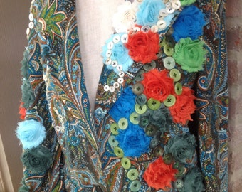 REPURPOSED ANTIQUE BUTTON jacket w/ floral rosettes- bold and eye catching- size 10