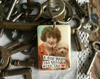 Recycled Game Piece Key Chain - Rummikub Tile - A Dog Wags Its Tail With Its Heart
