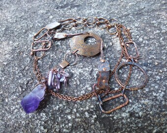 OOAK asymmetrical long layering necklace - copper and rough amethyst chrystal