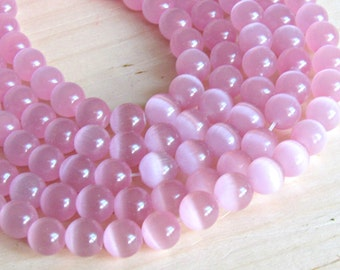 Pink cats eye, 8mm pink glass beads, cats eye 8mm, imitation opal beads, pink beads, reflection beads, holographic beads, full strand