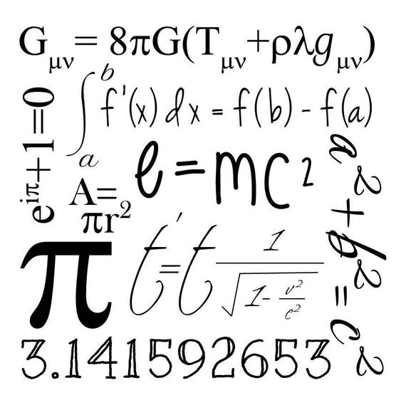 math geek graphic clip art  math  u0026 science formulas  e mc2  pi  svg cut file  cutting file