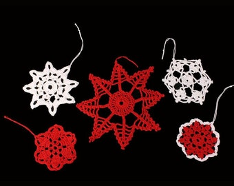 Snowflake Ornaments, Crochet, Red and White Decorations, Set of 5