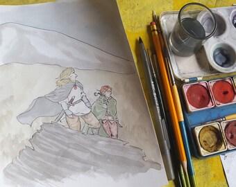 Wandering - Original Art Watercolor Sketch of Comic Illustration