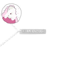 """The """"I am Enough"""" Hand Stamped Vertical Bar Necklace - silver bar necklace - I am Enough necklace - I am Enough jewelry - I am Enough gifts"""