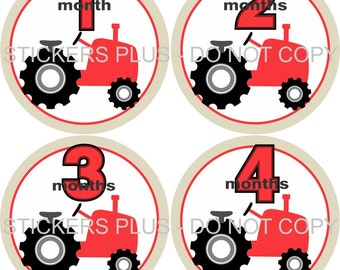 Baby Month Stickers Monthly Baby Stickers Milestone Stickers Baby Bodysuit Stickers Monthly Stickers Plus FREE Gift Boy Red Farm Tractor