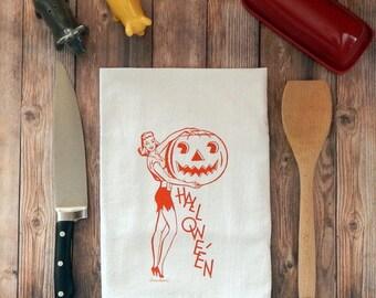 Madame Halloween Flour Sack Tea Towel