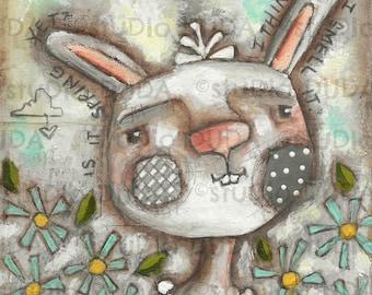 Original Folk Art Mixed Media Silly Rabbit Springtime Painting on Wood - Waiting for Spring