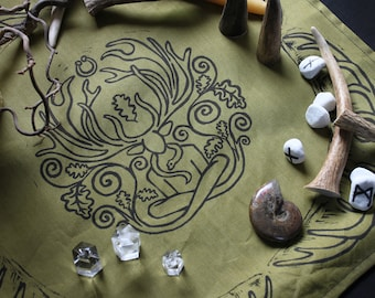 Cernunnos Altar Cloth: Double Sided, Pagan Altar, Herne, Lord of Beasts, Oak Tree, Celtic Forest God, Wicca, Wiccan Altar, Horned God, Male