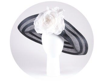 Black and white Kentucky Derby hat, black and white fascinator, big brim hat, black hat
