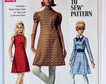 Shift Dress Sewing Pattern 1960s Women's High-Neck A-Line Shift Dress Vintage Size 13/14 Teen Simplicity 7776