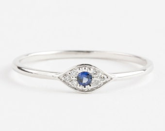 Evil eye ring, 14k white gold with blue sapphire and white diamonds, Evil eye jewelry, gold rose gold option