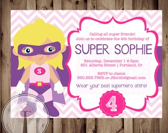 SUPERHERO GIRL Birthday Invitation, Birthday Invite Super Girl, superhero party, super girl party, hero. super hero girl, 1059