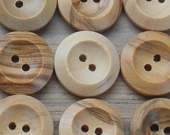 "2-Hole Natural Wooden Buttons x 10 Pack. From 14mm (1/2"") - 35mm (1"" 3/8)"