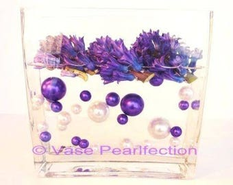 Purple & White Pearls - Jumbo/Assorted Sizes Vase Fillers for Centerpieces