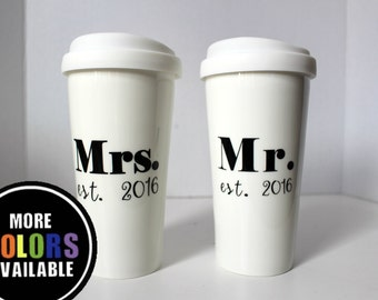 Engagement gift. Mr. and Mrs. Established travel mug.Wedding mug.Engagement coffee mug.Established year.Wedding gift.2018. Couple gift
